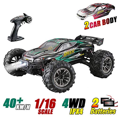MIEBELY RC Cars 1: 16 Scale All Terrain 4x4 Remote Control Car for Adults & Kids, 40+ KM/H Waterproof Off-Road RC Trucks, High Speed Electronic Cars, 2.4Ghz Radio Controller, 2 Batteries, 2 Car Bodies