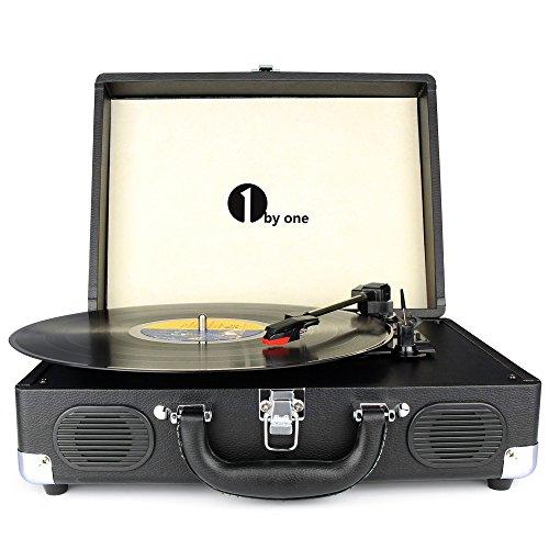 1byone Wireless Turntable HiFi System with 36 Watt Bookshelf Speakers, Vinyl Record Player with Magnetic Cartridge