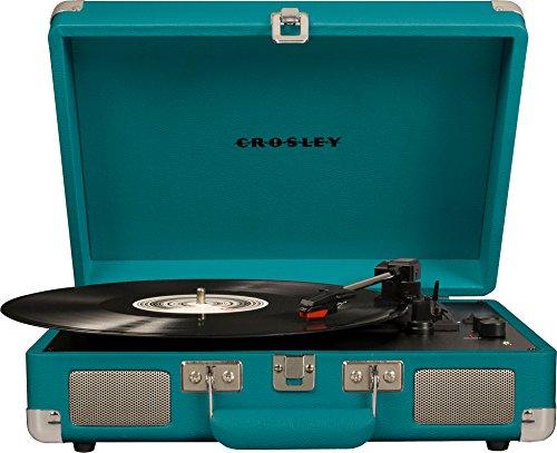 Crosley Cruiser Deluxe Vintage 3-Speed Bluetooth Suitcase Turntable, Teal