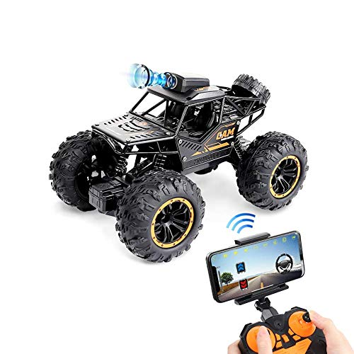 Fcoreey 1:18 Remote Control Car, WiFi Camera Alloy Off Road Truck High Speed Fast Racing Toy 2.4Ghz All Terrain Monster Vehicle Hobby Truck for Boys Teens Adults(RC CAR 1:18 Scale)