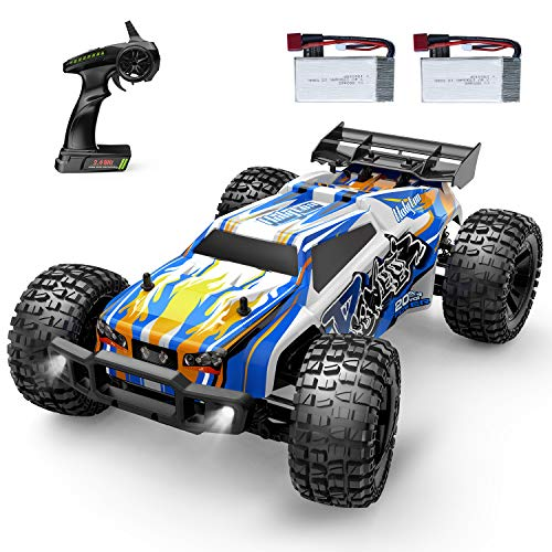 Holyton Remote Control Car 1:10 Scale RC Cars 48 KM/H High Speed 40min Play for Adults and Kids, 4WD Driving 2.4GHz Off Road Monster Truck Waterproof Vehicle, 2 Batteries Toys Gifts for Boys Girls