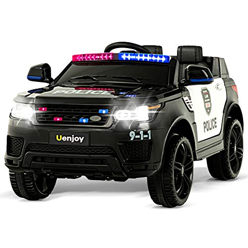 Uenjoy 12V Kids Police Ride On Car SUV Battery Operated Electric Cars w/ 2.4G Remote Control, LED Siren Flashing Light, Music& Horn Intercom, Bumper Guard, Openable Doors, AUX, USB Port, Black