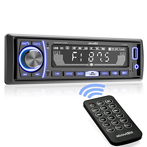 Single Din Car Stereo, aboutBit Bluetooth Multimedia Car Audio Systems w/ Hands-Free Calling, No CD/DVD Player, Built-in Microphone, FLAC/MP3/USB, AUX Input, AM/FM Radio Receiver