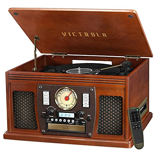 Victrola 8-in-1 Bluetooth Record Player & Multimedia Center, Built-in Stereo Speakers - Turntable, Wireless Music Streaming   Mahogany