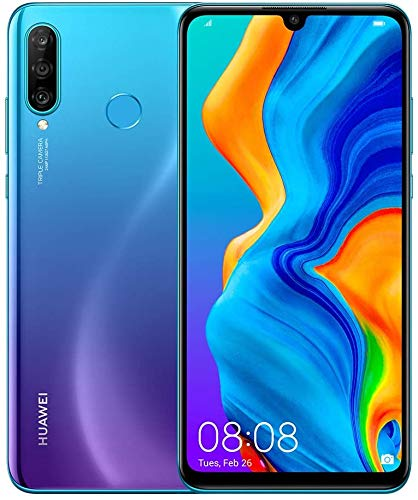 Huawei P30 Lite (128GB, 4GB RAM) 6.15' Display, AI Triple Camera, 32MP Selfie, Dual SIM GSM Factory Unlocked MAR-LX3A - US & Global 4G LTE International Version (Peacock Blue, 128GB + 64GB SD Bundle)