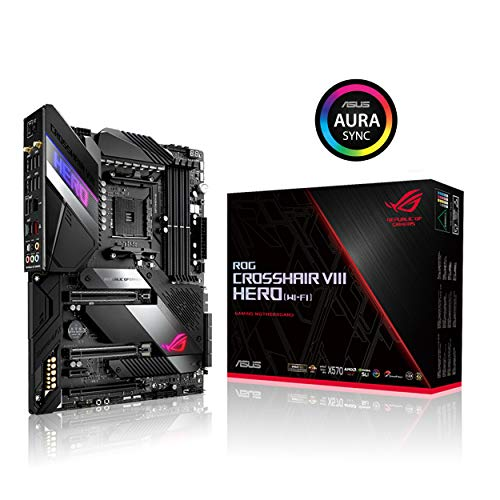 Asus ROG X570 Crosshair VIII Hero (Wi-Fi) ATX Motherboard with PCIe 4.0, on-Board WiFi 6 (802.11Ax), 2.5 Gbps LAN, USB 3.2, SATA, M.2, Node and Aura Sync RGB Lighting