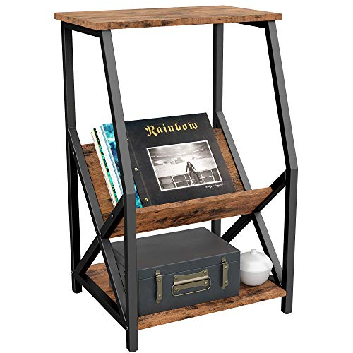 IRONCK Tall 3 Tier Side Table 22' L18 W34.2 H, Record Player Stand with Storage Wood Look Industrial Accent Table, MDF Board with Metal Frame, Vintage Brown