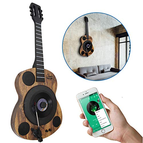 EasyGoProducts Guitars Shaped Vertical Bluetooth Turntable – 3 Speed Record Player – Auto Stop Feature