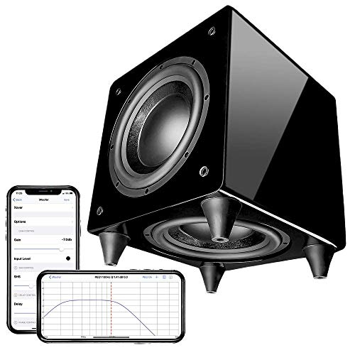 OSD Nero Dual 8' Powered Subwoofer with DSP App Control 300W Dynamic Active and Passive Woofers Gold Platted Inputs Piano Black Finish DualX8