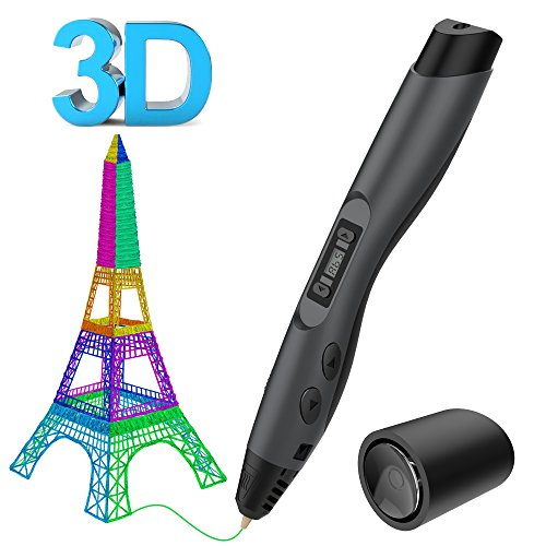 Tecboss 3D Pen, 3D Printing Pen with OLED Display and 2 Loops of 1.75 mm Filament Refills, Ultimate Innovative Design for Doodling, Art & Craft Making and Education(Gray)