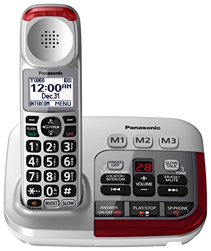 PANASONIC Amplified Cordless Phone with Digital Answering Machine - KX-TGM450S - 1 Handset (Silver)