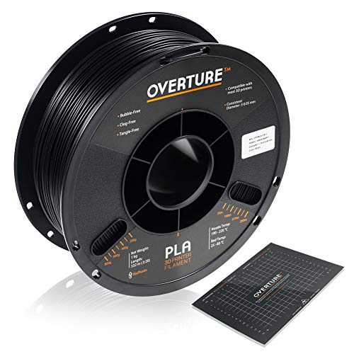 OVERTURE PLA Filament 1.75mm with 3D Build Surface 200mm x 200mm 3D Printer Consumables, 1kg Spool (2.2lbs), Dimensional Accuracy +/- 0.05 mm, Fit Most FDM Printer, Black