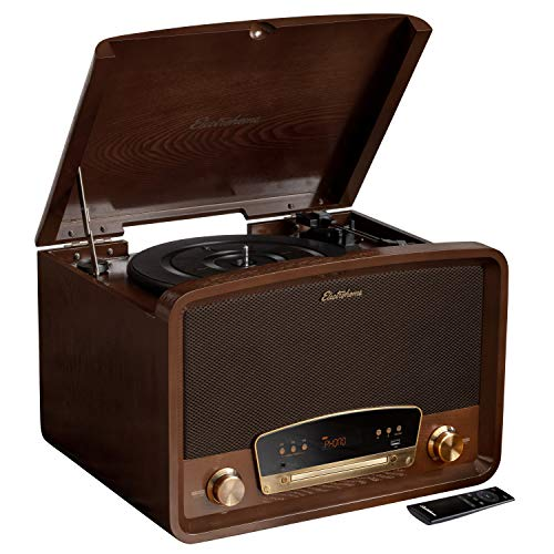 Electrohome Kingston 7-in-1 Vintage Vinyl Record Player Stereo System with 3-Speed Turntable, Bluetooth, AM/FM Radio, CD, Aux in, RCA/Headphone Out, Vinyl/CD to MP3 Recording & USB Playback (RR75)