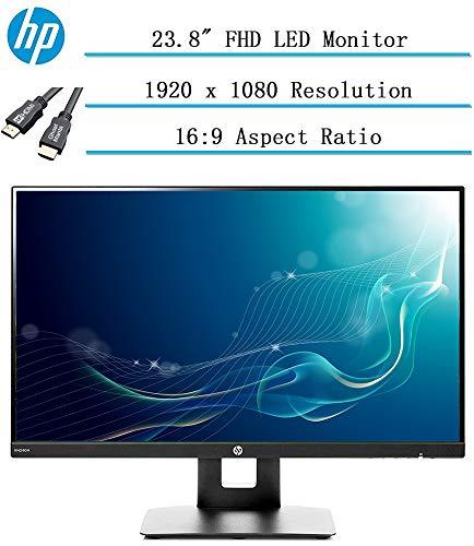 Newest HP 23.8' Full HD (1920x1080) IPS LED PC Computer Monitor for Business Student, Build in Speaker, VESA Mounting, Tilt, HDMI, VGA, 5ms, 16:9 Aspect Ratio, 178°, w/Ghost Manta 4K HDMI Cable