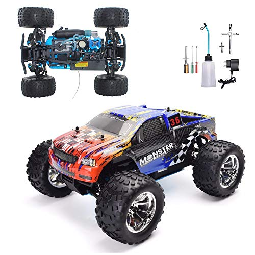 YDYL-LI 4Wd Oil-Driven Methanol Remote Control HSP Buggy, 1/10 Th Scale Nitro Truck Rc Car, with 75Cc Fuel Tank and 2.4G Remote Control, High-Speed Simulation Racing for Adult