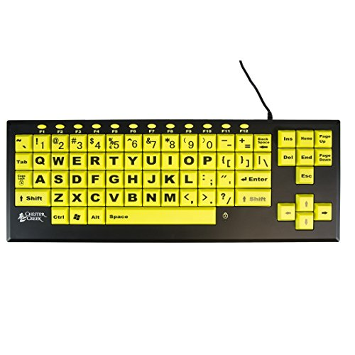 AbleNet 12000024 Large Print Keyboard - CCT VisionBoard2 Large Keys and Large Print Letters Keyboard - Wired USB Plug - Black Letters on Yellow Keys