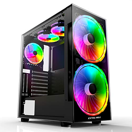 Extra Mile Gaming Computer Case ATX Mid Tower PC Case with 3 Tempered Glass, 5 RGB Fans, USB 3.0 Ports & Cable Management, Black(C-380)
