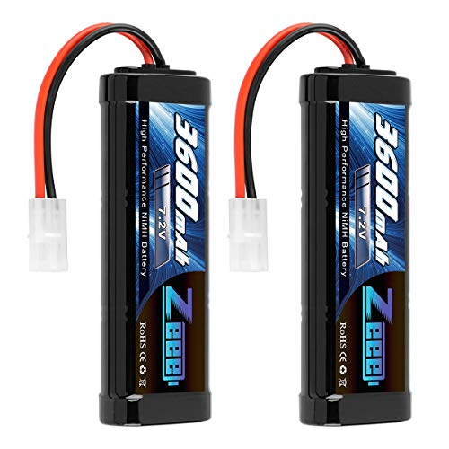 Zeee 7.2V 3600mAh RC NiMH Battery with Tamiya Plug for RC Car RC Truck Traxxas Associated HPI Losi Kyosho Tamiya Hobby(2 Pack)