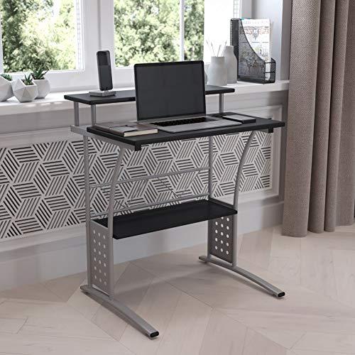 Flash Furniture Clifton Computer Desk - Black Home Office Desk - Raised Monitor Shelf - Perforated Side Paneling