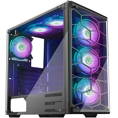 MUSETEX Phantom Black ATX Mid Tower Desktop Computer Gaming Case USB 3.0 Ports Tempered Glass Windows with 6PCS 120mm LED RGB Fans Pre-Installed (907D6)