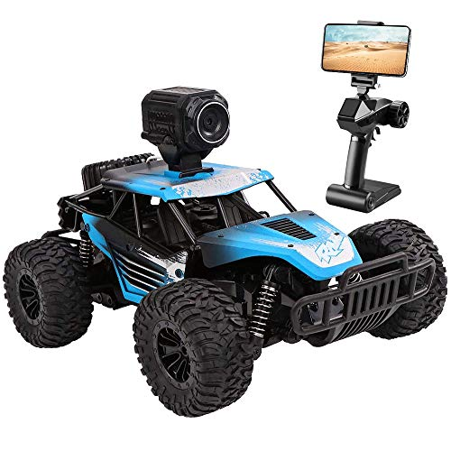 RC Car, DeXop Newest 2.4Ghz 4WD Off-Road Remote Contorl Car with HD Camera & Dual Control Mode, 20km/H High Speed Remote Control Vehicle RC Car Toy For Children & Adult-Blue