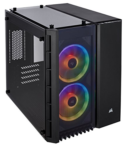 CORSAIR CRYSTAL 280X RGB Micro-ATX Case, 2 RGB Fans, Lighting Node PRO included, Tempered Glass - Black (CC-9011135-WW)