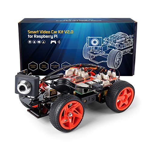 SunFounder Smart Video Car Kit V2.0 PiCar-V Robot Kit Raspberry Pi 4 Model B 3B+ 3B 2B Graphical Visual Programming Language,Video Transmission,Remote Control by UI on Windows Mac Web Browser
