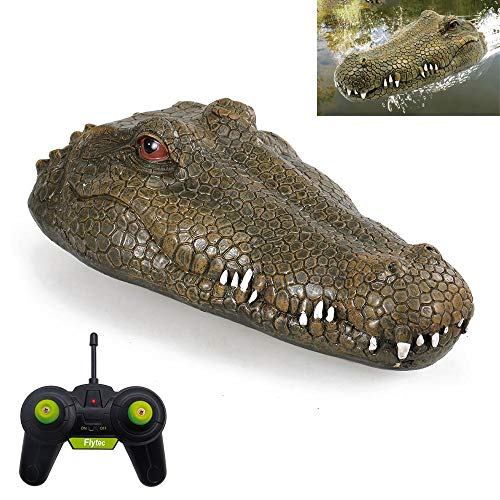 Lesgos RC Crocodile Head, Electric Remote Control Simulation Funny Toys Water Solution Floating Fake Foam Croc Head Decoy for Pool Pond Garden Patio Home Decoration Toddler Animal Toys Party Gifts