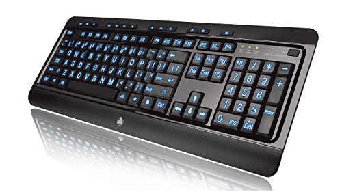Azio Large Print Tri-Color Backlit Wired Keyboard (KB505U)