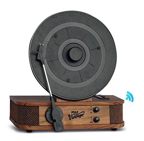 Pyle Turntable Bluetooth, Dual Built-in Stereo Speakers, 3 Stereo Speed Turntable: 33-1/3, 45, & 78 RPM, Vintage Vinyl, Vertical Record Player Speaker System, USB/MP3, Great For Gifts (PLTT21BT),Black