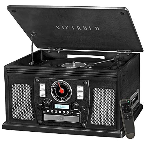Victrola 8-in-1 Bluetooth Record Player & Multimedia Center, Built-in Stereo Speakers - Turntable, Wireless Music Streaming | Black