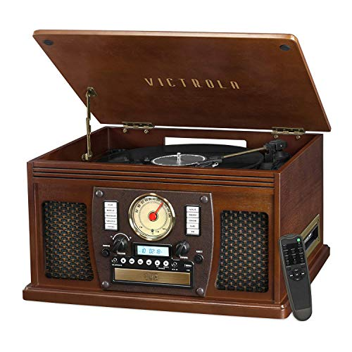 Victrola 8-in-1 Bluetooth Record Player & Multimedia Center, Built-in Stereo Speakers - Turntable, Wireless Music Streaming | Espresso
