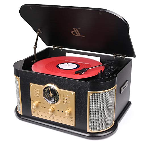 Bluetooth Record Player, dl Vintage Turntable 3-Speed Vinyl Record Player with 2x9W Speakers/CD/FM Radio/USB & Encording/SD Card/Aux in Record Player