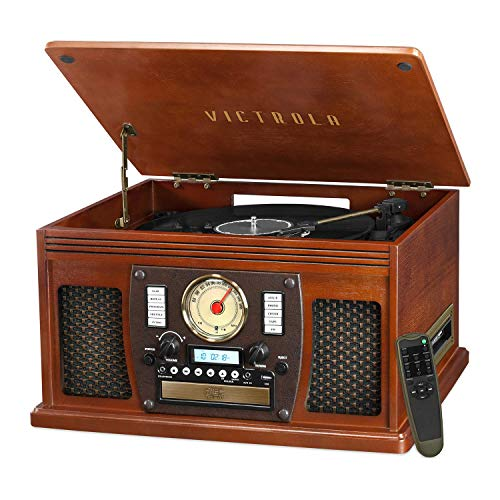 Victrola 8-in-1 Bluetooth Record Player & Multimedia Center, Built-in Stereo Speakers - Turntable, Vinyl to MP3 Recording | Wireless Music Streaming | Mahogany